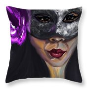 Mask And Flower Throw Pillow