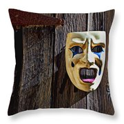 Mask On Barn Door Throw Pillow
