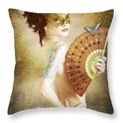 Masked Lady Throw Pillow