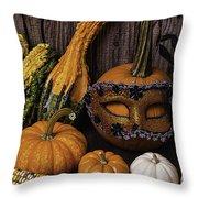 Masked Pumpkin Throw Pillow