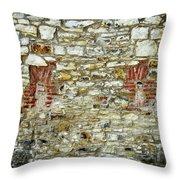 masonry Locked windows on the stone wall Throw Pillow