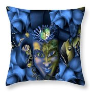 Masquerade Blues Throw Pillow