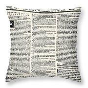 Massachusetts Spy, 1776 Throw Pillow