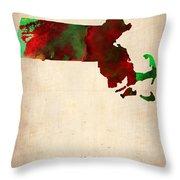 Massachusetts Watercolor Map Throw Pillow by Naxart Studio
