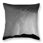 Massive Monsoon Lightning Storm Bw Throw Pillow