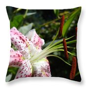 Master Gardeners Art Floral Pink Lily Flower Baslee Troutman Throw Pillow
