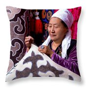 Master Of Kyrgyz National Carpet - Shyrdak  Throw Pillow