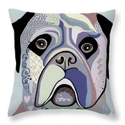 Mastiff In Denim Colors Throw Pillow