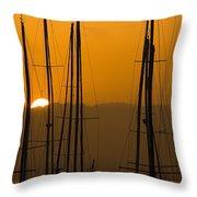Masts At Dawn Throw Pillow