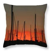Masts At Sunset Throw Pillow