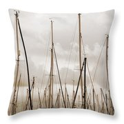 Masts In Sepia Throw Pillow