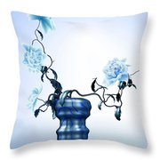 Math Flowers In Blue 1 Throw Pillow by GuoJun Pan
