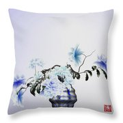 Math Flowers In Blue 2 Throw Pillow