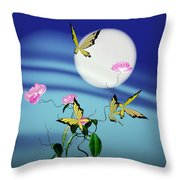 Math Peony And Butterfly Throw Pillow by GuoJun Pan