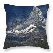 Matterhorn In Starry Night Throw Pillow