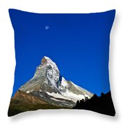 Matterhorn Under Moon Throw Pillow