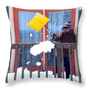 Mature Female Shoveling. Throw Pillow