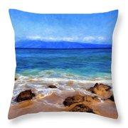 Maui Beach And View Of Lanai Throw Pillow