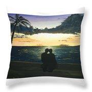 Maui Beach Sunset Throw Pillow