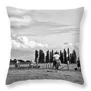 Maui Paniolos Herding Cattle Throw Pillow