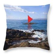 Maui Sailing Canoe Throw Pillow