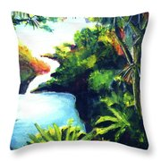 Maui Seven Sacred Falls #184 Throw Pillow