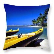Maunalua Bay Outrigger Canoe Throw Pillow