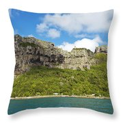 Maupiti Island Cliff Throw Pillow