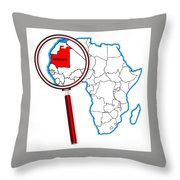 Mauritania Under A Magnifying Glass Throw Pillow