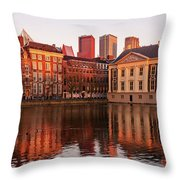 Mauritshuis And Hofvijver At Golden Hour - The Hague Throw Pillow