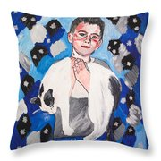 Max Holding Snowflake Throw Pillow