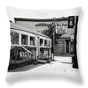Max's Diner New Jersey Black And White Throw Pillow