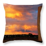 May Day Silo Sunset Throw Pillow