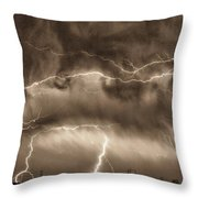 May Showers - Lightning Thunderstorm Sepia Hdr Throw Pillow