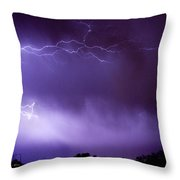 May Showers 2 In Color - Lightning Thunderstorm 5-10-11 Boulder Throw Pillow