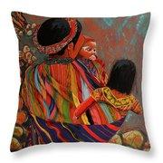 Mayan Family Throw Pillow