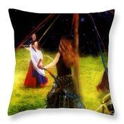 Maypole Moon Throw Pillow