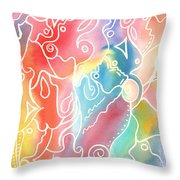 Maze Of Faces Throw Pillow by Carolyn Weir