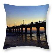 Mb Pier Sunset Throw Pillow