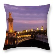 Bridge Of Alexandre IIi At Night Throw Pillow