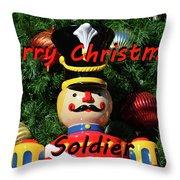 Custom Soldier Christmas Card Throw Pillow