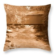 Mcconnells Mill Covered Bridge Sepia Throw Pillow