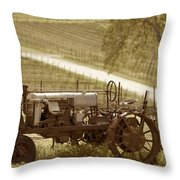 Mccormick Deering Tractor In Sepia Throw Pillow