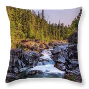 Mcdonald Creek Falls Throw Pillow