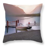 Mcdonald Lake At Dusk Throw Pillow
