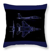 Mcdonnell Douglas F-15 Eagle Black Diagram Indigo Lines Throw Pillow