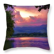 Mcintosh Lake Sunset Throw Pillow