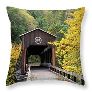 Mckee Bridge In Fall Throw Pillow