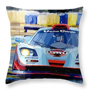 Mclaren Bmw F1 Gtr Gulf Team Davidoff Le Mans 1997 Throw Pillow