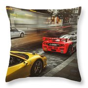 Mclaren F1 Gtr With Speciale And Integrale And 918 Throw Pillow